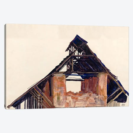 Old Gable Canvas Print #8272} by Egon Schiele Canvas Art Print