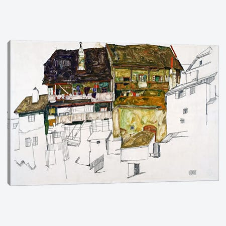 Old Houses in Krumau Canvas Print #8273} by Egon Schiele Art Print
