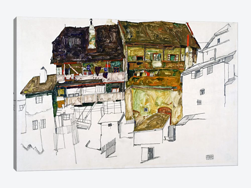 Old Houses in Krumau by Egon Schiele 1-piece Canvas Art