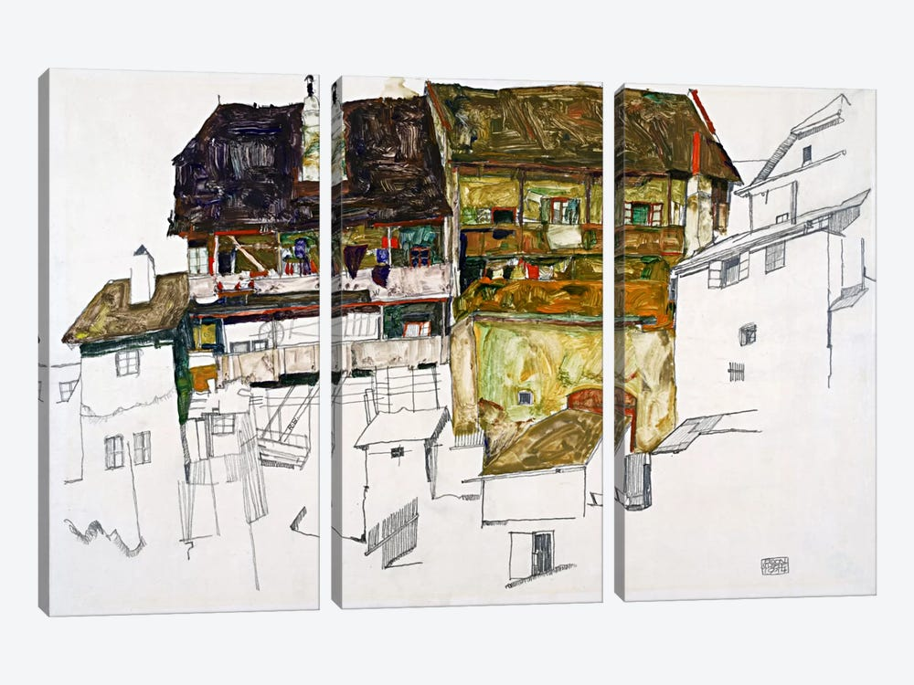 Old Houses in Krumau by Egon Schiele 3-piece Canvas Artwork