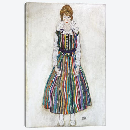 Portrait of Edith (The Artist's Wife) Canvas Print #8275} by Egon Schiele Canvas Art