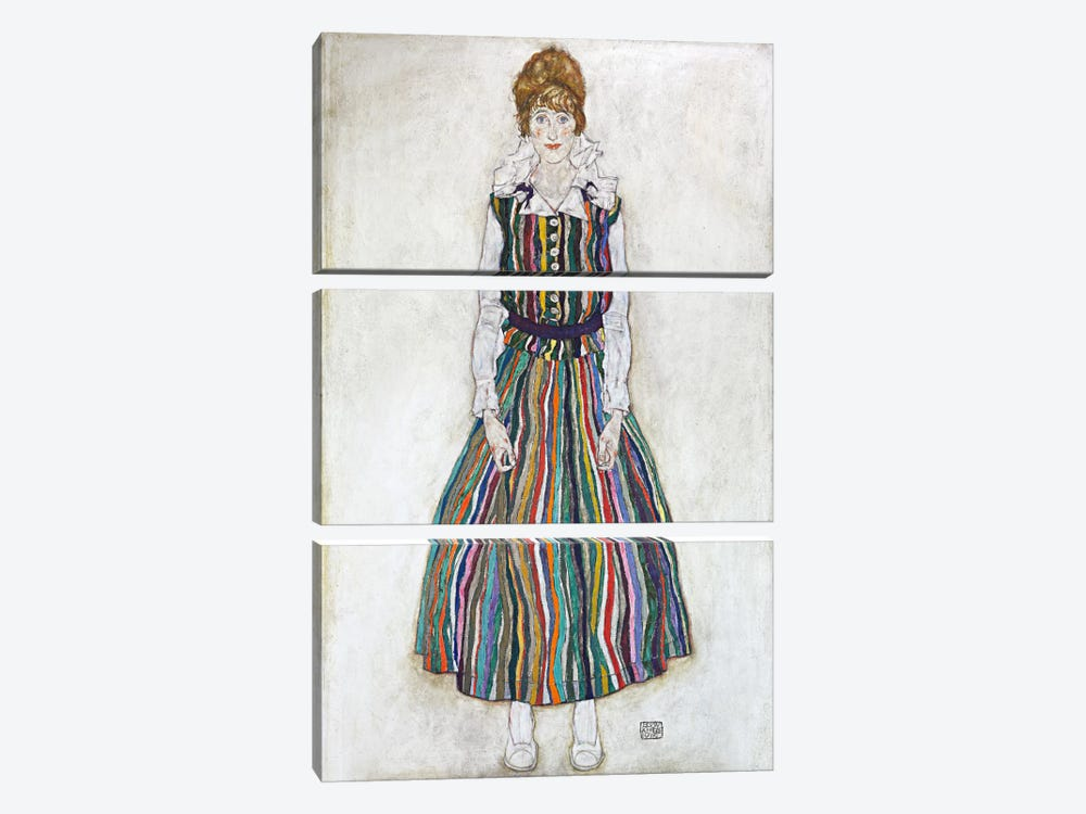 Portrait of Edith (The Artist's Wife) by Egon Schiele 3-piece Canvas Art