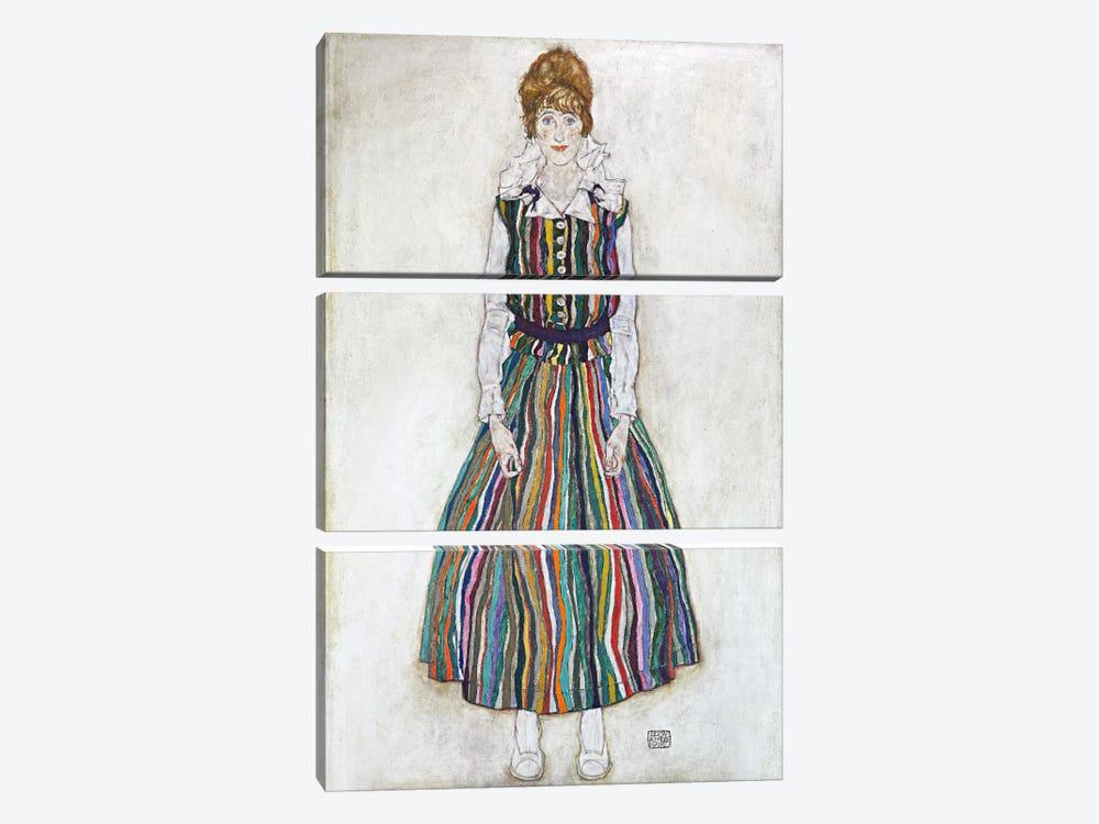Portrait of Edith (The Artist's Wife) by Egon Schiele 3-piece Canvas Art