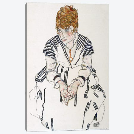 Portrait of the Artist's Sister-in-Law, Adele Harms Canvas Print #8276} by Egon Schiele Canvas Art