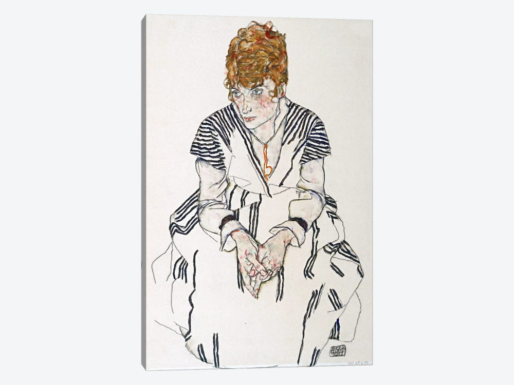 Portrait of the Artist's Sister-in-Law, Adele Harms by Egon Schiele 1-piece Canvas Print