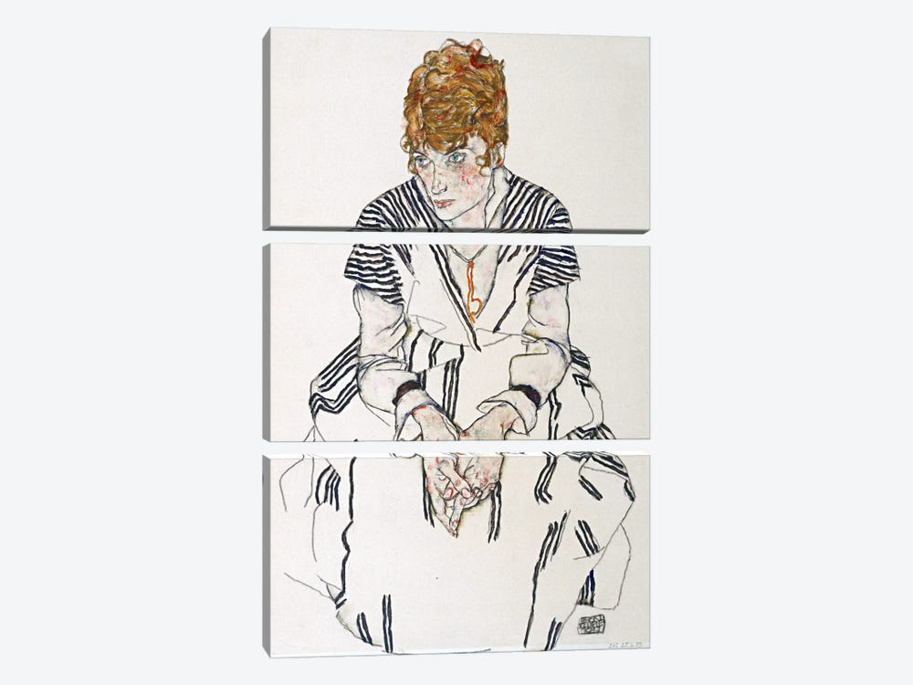 Portrait of the Artist's Sister-in-Law, Adele Harms by Egon Schiele 3-piece Canvas Art Print