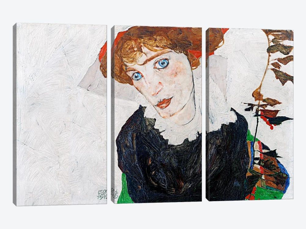 Portrait of Wally Neuzil by Egon Schiele 3-piece Canvas Art