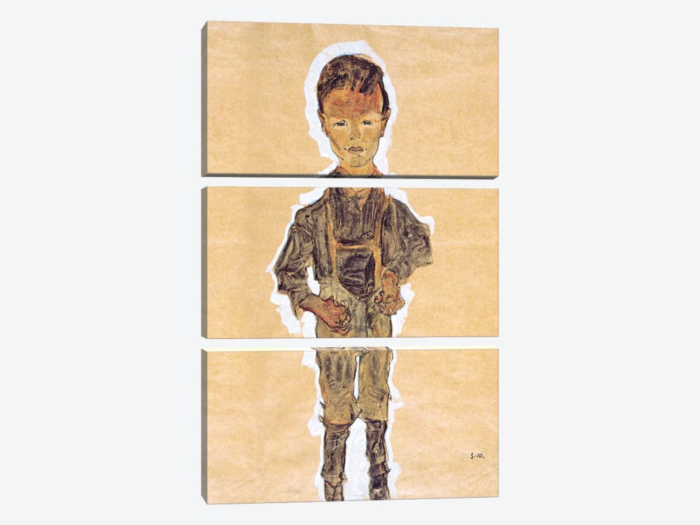Worker (Boy) by Egon Schiele 3-piece Art Print