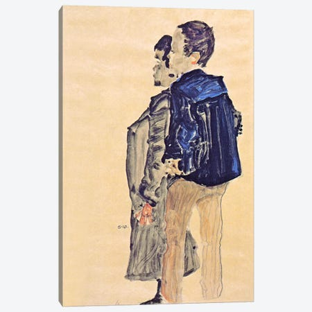 Back View of Two Boys Canvas Print #8279} by Egon Schiele Art Print