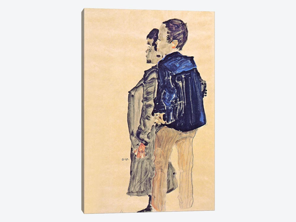 Back View of Two Boys by Egon Schiele 1-piece Canvas Wall Art