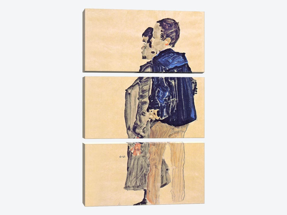 Back View of Two Boys by Egon Schiele 3-piece Canvas Art