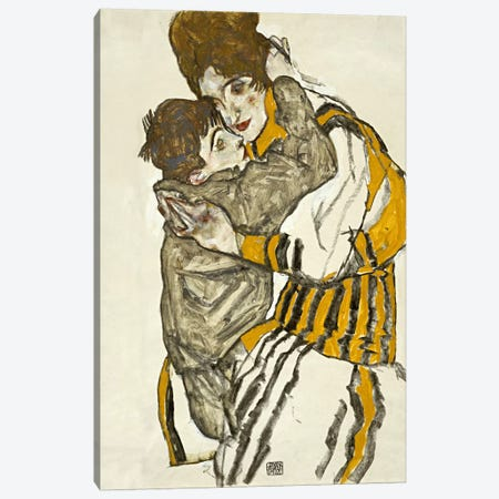 Schiele's Wife with Her Little Nephew Canvas Print #8282} by Egon Schiele Canvas Wall Art