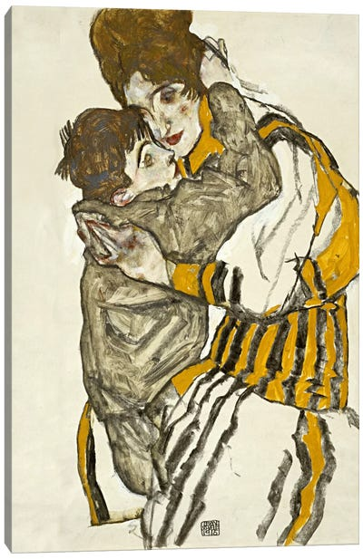 Schiele's Wife with Her Little Nephew Canvas Print #8282
