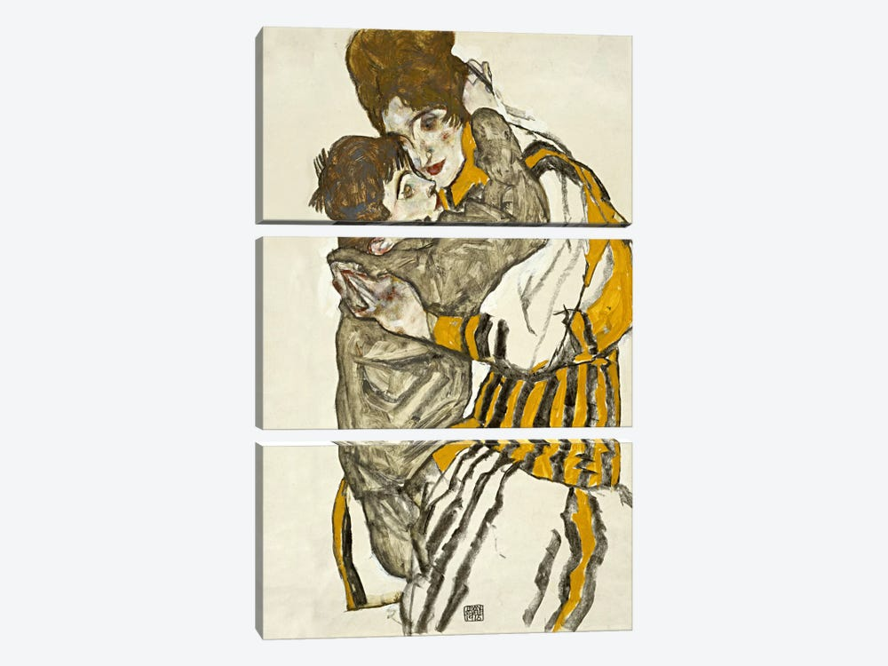 Schiele's Wife with Her Little Nephew 3-piece Canvas Wall Art