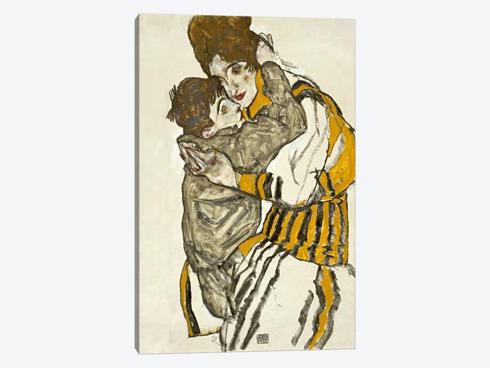 Schiele's Wife with Her Little Nephew by Egon Schiele 1-piece Canvas Art