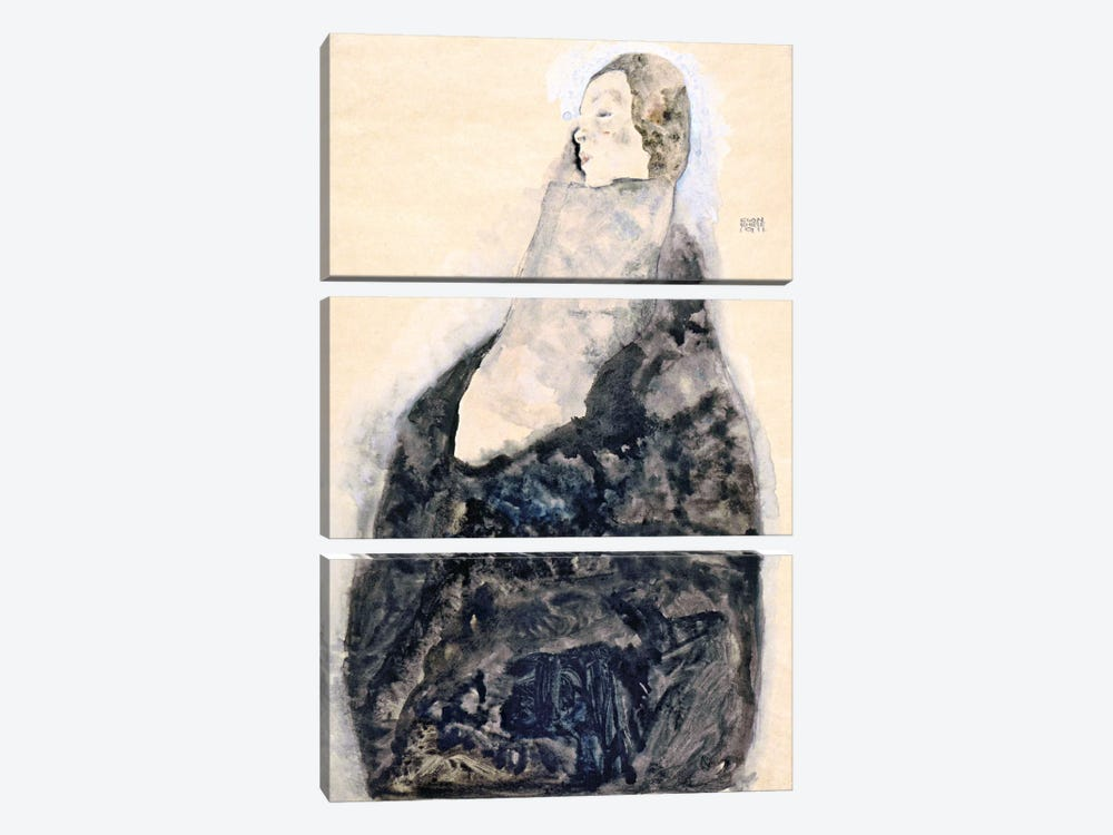 Sleeping by Egon Schiele 3-piece Canvas Art Print