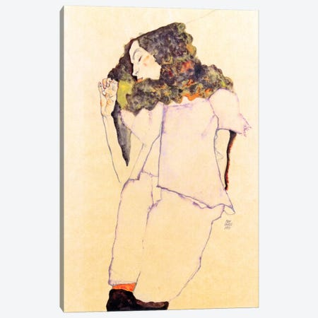 Sleeping Girl Canvas Print #8284} by Egon Schiele Canvas Art Print