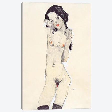 Standing Nude Young Girl Canvas Print #8285} by Egon Schiele Canvas Print