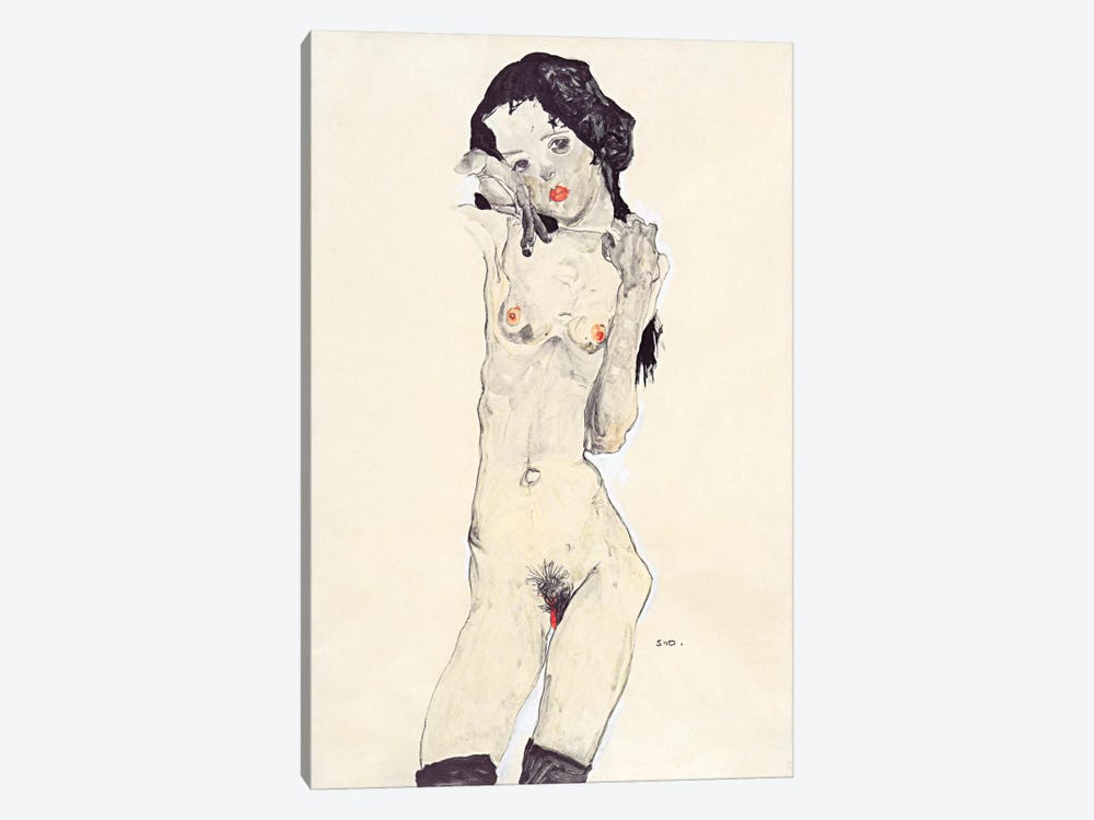 Standing Nude Young Girl by Egon Schiele 1-piece Art Print