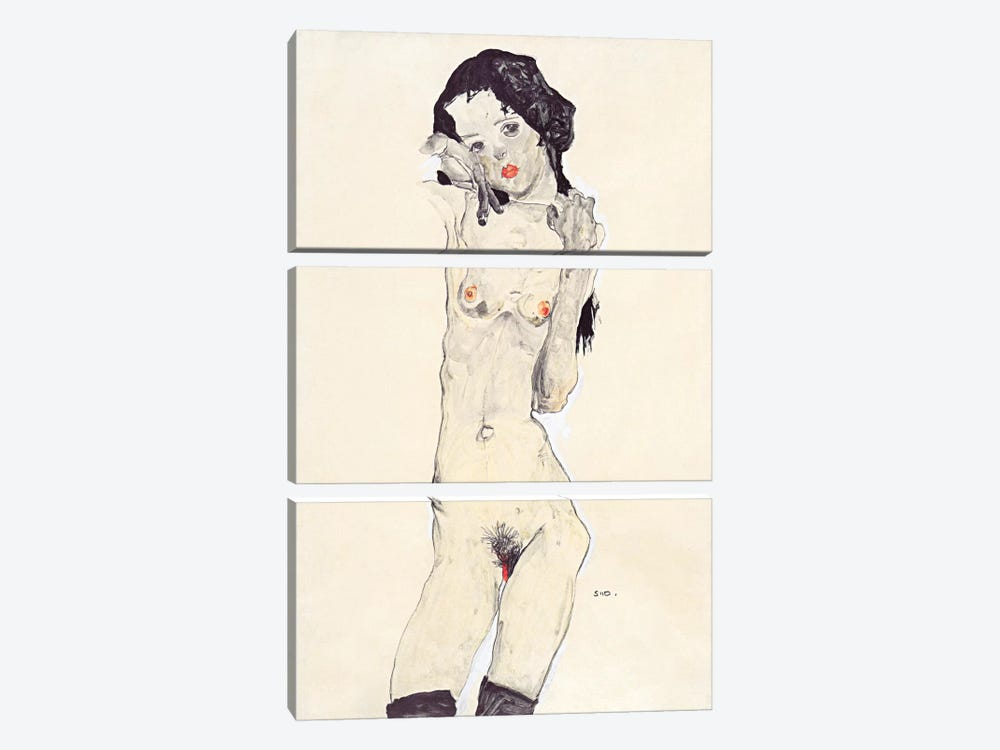 Standing Nude Young Girl by Egon Schiele 3-piece Art Print