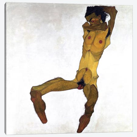 Seated Male Nude Canvas Print #8287} by Egon Schiele Canvas Art Print