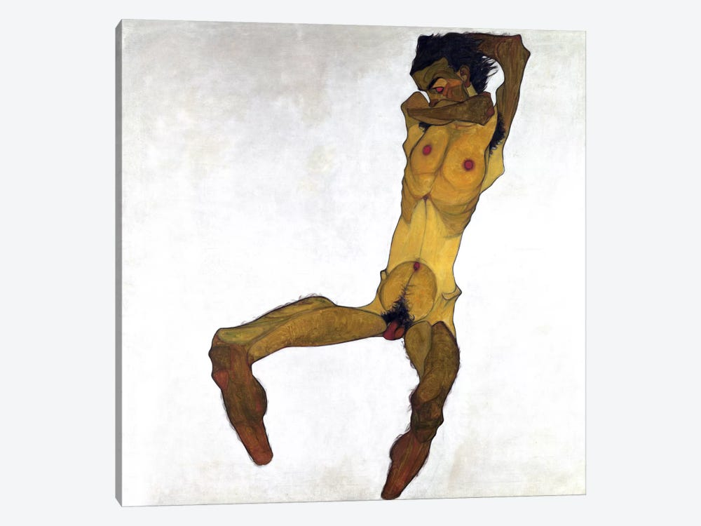 Seated Male Nude by Egon Schiele 1-piece Canvas Print