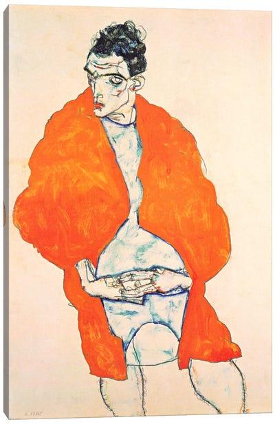 Self-Portrait (Man in Orange Jacket) Canvas Art Print