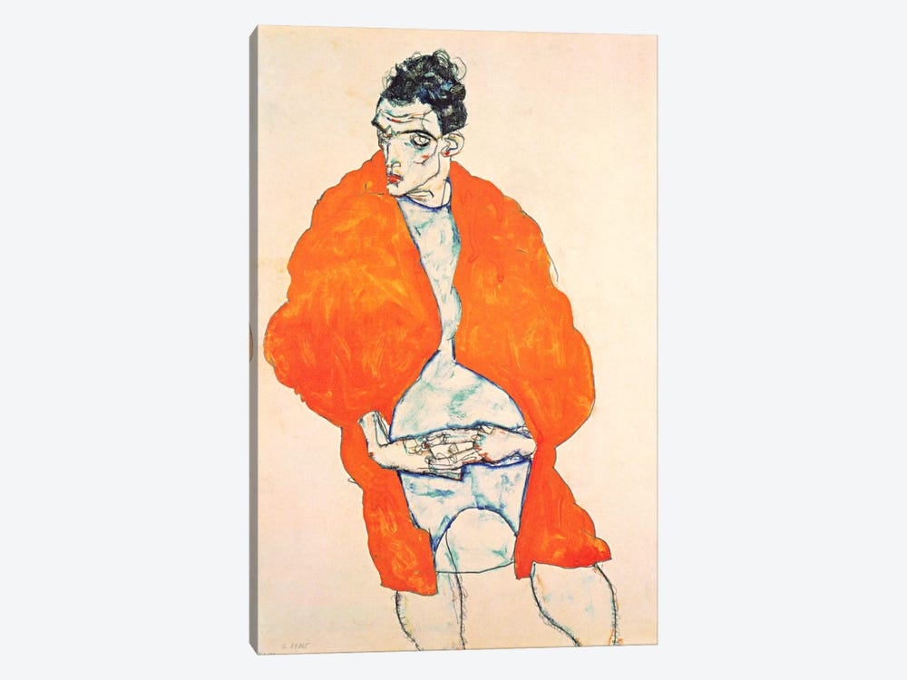 Self-Portrait (Man in Orange Jacket) by Egon Schiele 1-piece Canvas Art Print