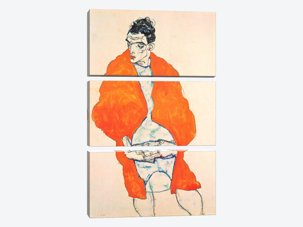 Self-Portrait (Man in Orange Jacket) by Egon Schiele 3-piece Canvas Print