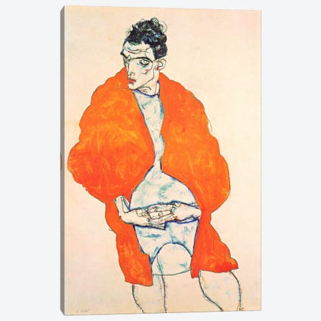Self-Portrait (Man in Orange Jacket) 3-Piece Canvas #8289} by Egon Schiele Canvas Wall Art