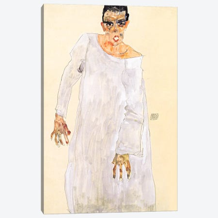 Self-Portrait in a White Rob Canvas Print #8290} by Egon Schiele Canvas Art Print