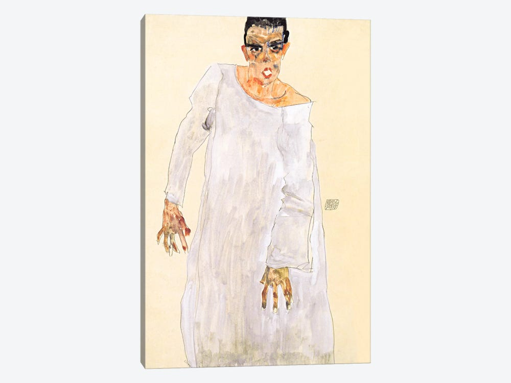 Self-Portrait in a White Rob by Egon Schiele 1-piece Canvas Print