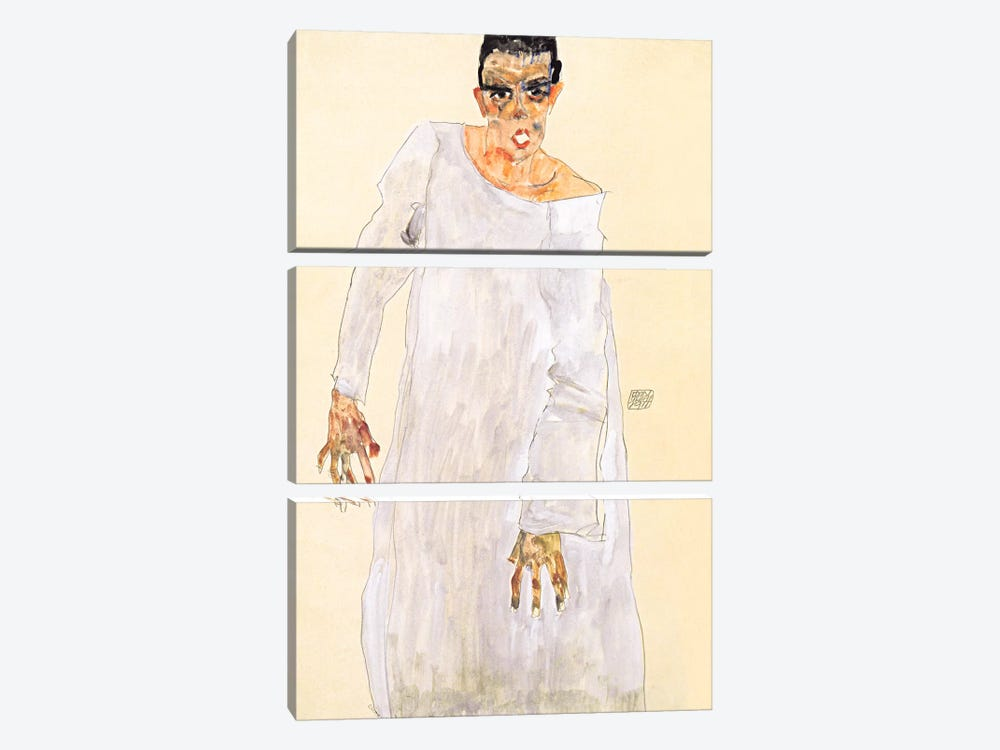 Self-Portrait in a White Rob by Egon Schiele 3-piece Canvas Print