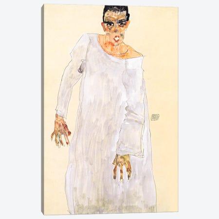 Self-Portrait in a White Rob Canvas Print #8290} by Egon Schiele Canvas Art Print