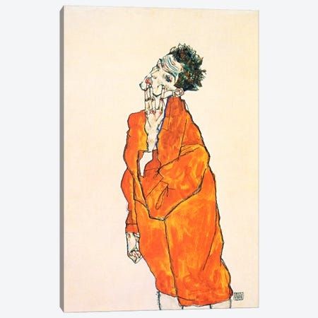 Self-Portrait in Orange Jacket Canvas Print #8291} by Egon Schiele Canvas Print