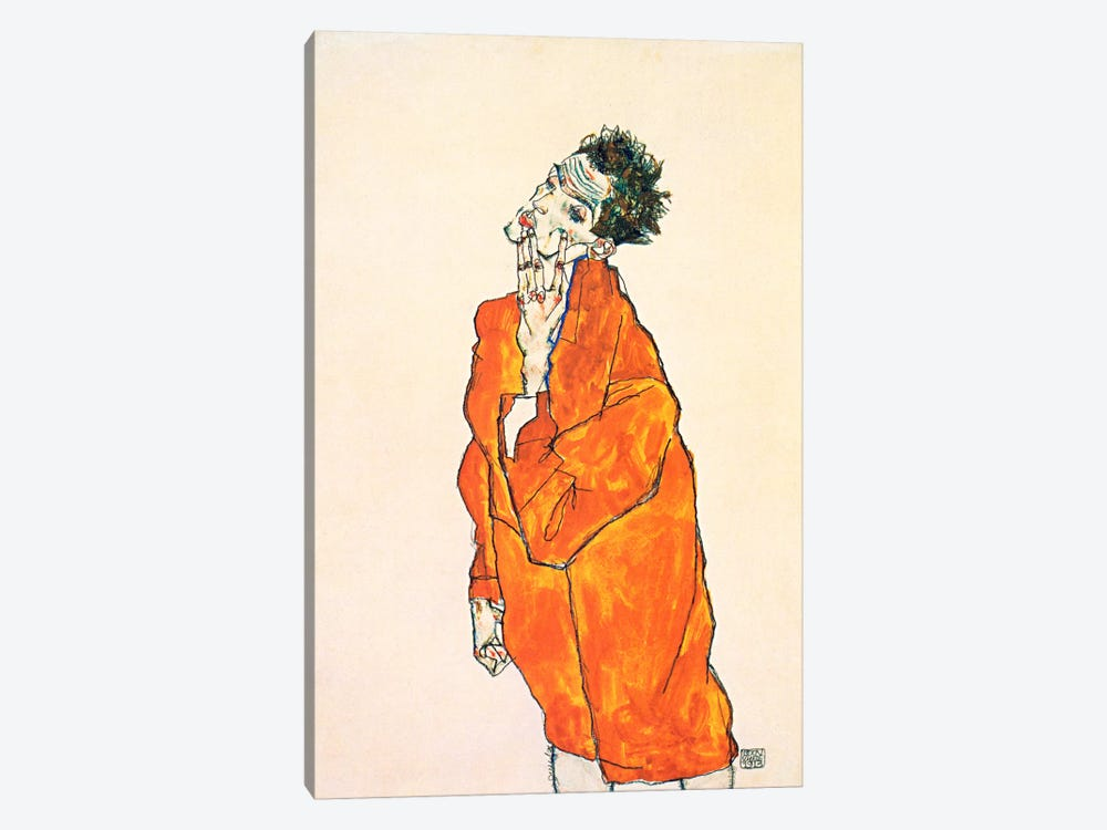 Self-Portrait in Orange Jacket by Egon Schiele 1-piece Canvas Art