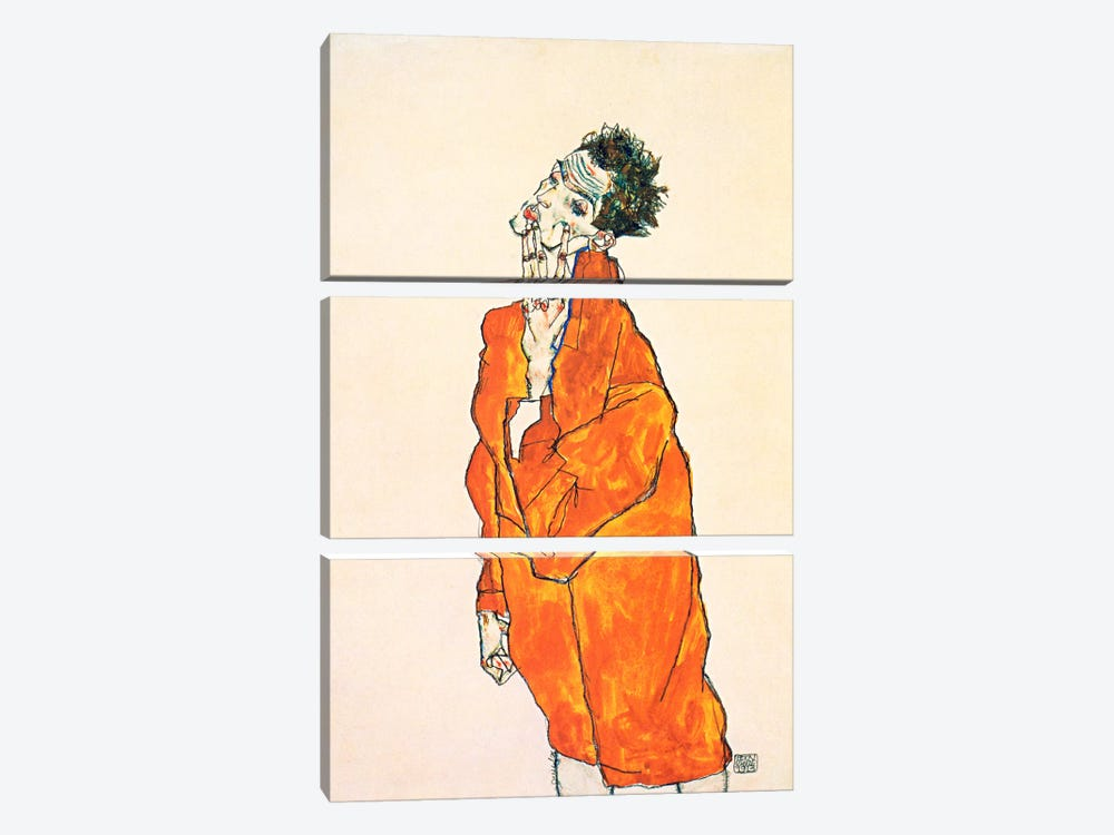 Self-Portrait in Orange Jacket by Egon Schiele 3-piece Canvas Wall Art