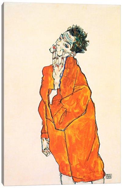 Self-Portrait in Orange Jacket Canvas Art Print