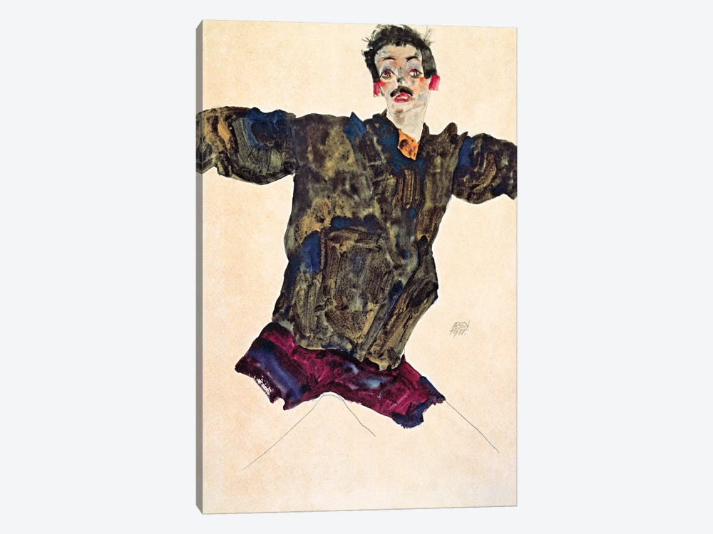 Self Portrait with Outstretched Arms by Egon Schiele 1-piece Canvas Art Print