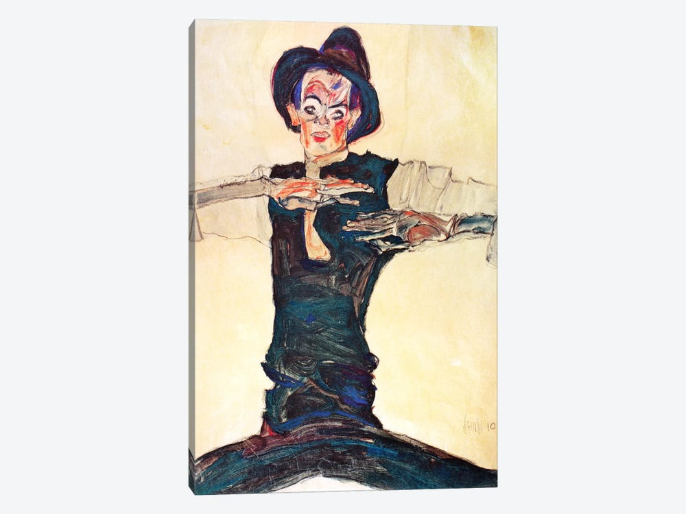 Self-Portrait with a Brown Hat by Egon Schiele 1-piece Canvas Artwork