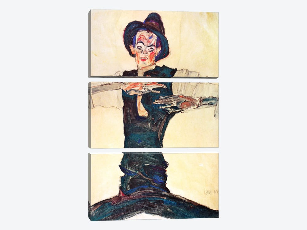 Self-Portrait with a Brown Hat by Egon Schiele 3-piece Canvas Art
