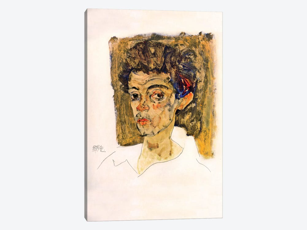Self Portrait with Brown Background by Egon Schiele 1-piece Canvas Print