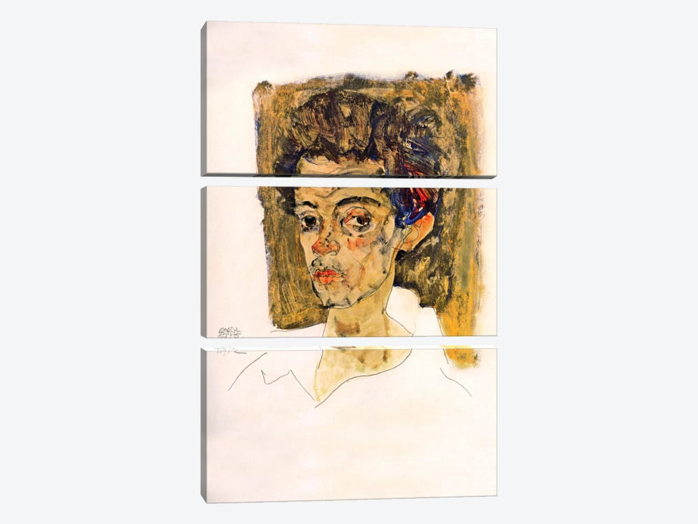 Self Portrait with Brown Background by Egon Schiele 3-piece Canvas Print