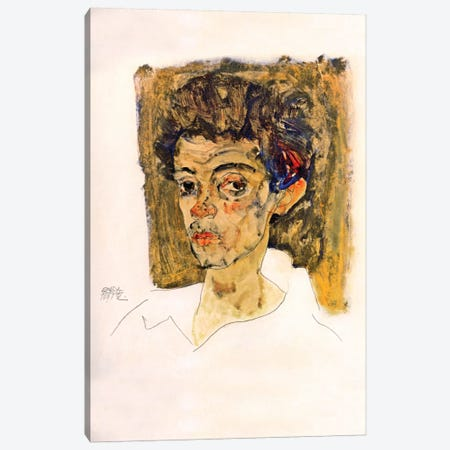 Self Portrait with Brown Background 3-Piece Canvas #8296} by Egon Schiele Canvas Artwork