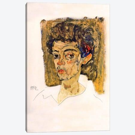 Self Portrait with Brown Background Canvas Print #8296} by Egon Schiele Canvas Artwork