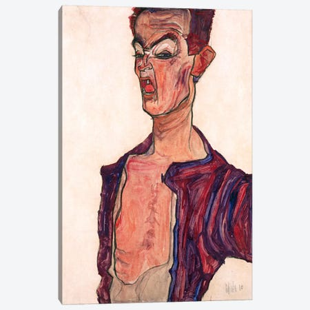 Self-Portrait, Grimacing Canvas Print #8297} by Egon Schiele Canvas Artwork