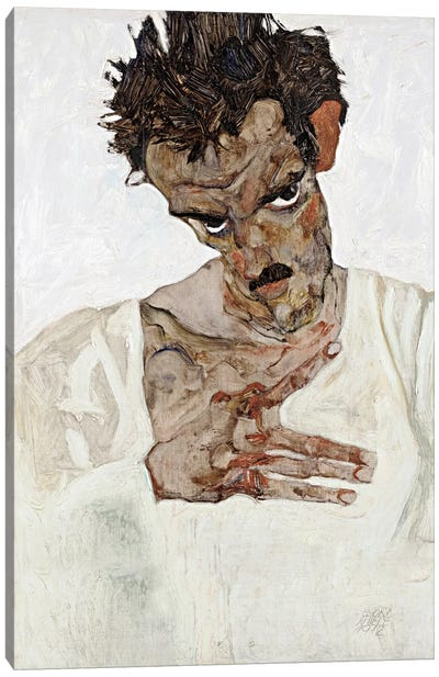 Self-Portrait with Lowered Head Canvas Art Print