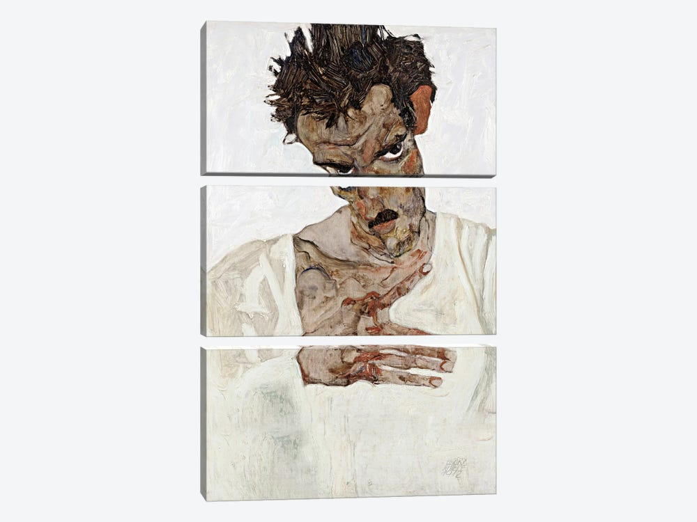 Self-Portrait with Lowered Head by Egon Schiele 3-piece Canvas Art Print
