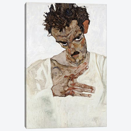Self-Portrait with Lowered Head 3-Piece Canvas #8298} by Egon Schiele Art Print