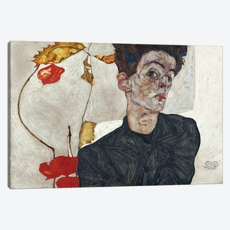 Self-Portrait with Physalis Canvas Print #8299} by Egon Schiele Canvas Art Print